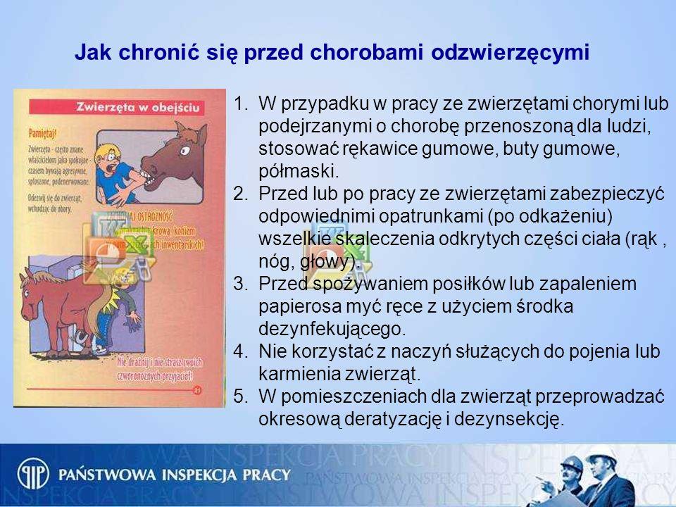 Jak chronić się przed chorobami odzwierzęcymi 1.W przypadku w pracy ze zwierzętami chorymi lub podejrzanymi o chorobę przenoszoną dla ludzi, stosować