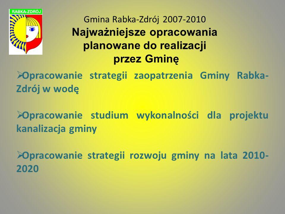 Gmina Rabka-Zdrój 2007-2010 Najważniejsze opracowania planowane do realizacji przez Gminę Opracowanie strategii zaopatrzenia Gminy Rabka- Zdrój w wodę