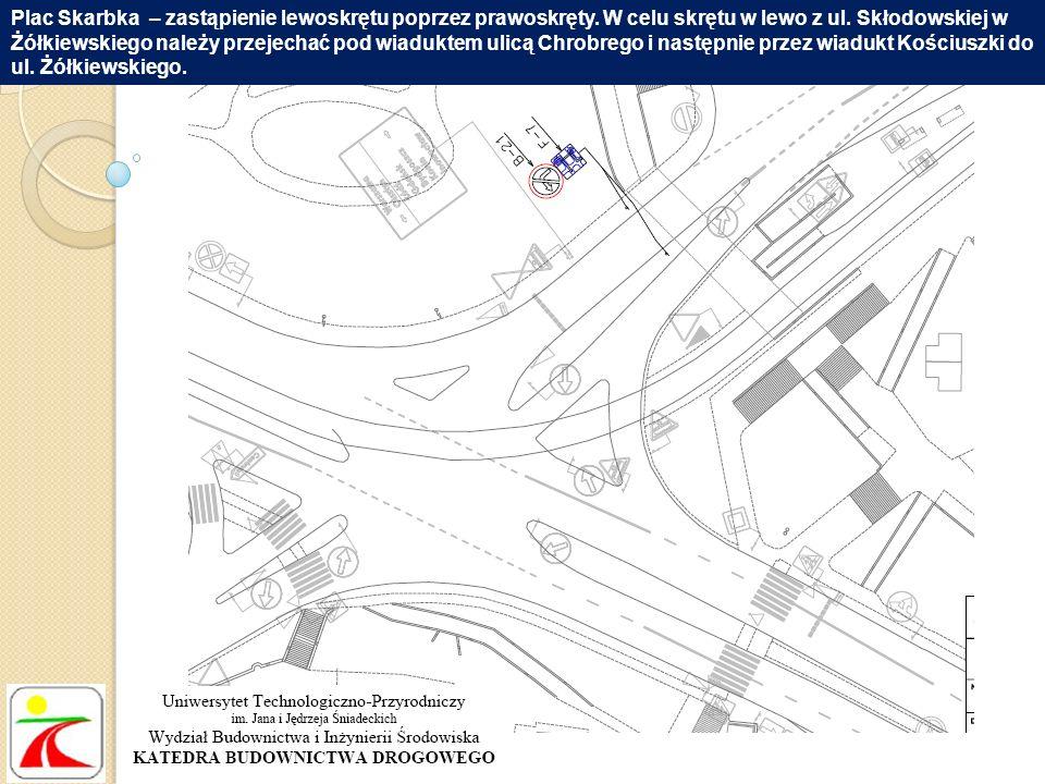 Plac Skarbka – zastąpienie lewoskrętu poprzez prawoskręty. W celu skrętu w lewo z ul. Skłodowskiej w Żółkiewskiego należy przejechać pod wiaduktem uli