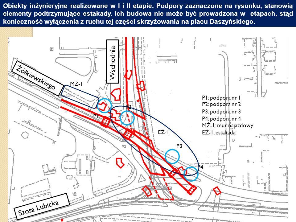 Układ pasów ruchu na placu Daszyńskiego po wprowadzeniu tymczasowej organizacji ruchu.