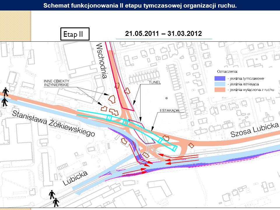 Etap II 21.05.2011 – 31.03.2012 Schemat funkcjonowania II etapu tymczasowej organizacji ruchu.