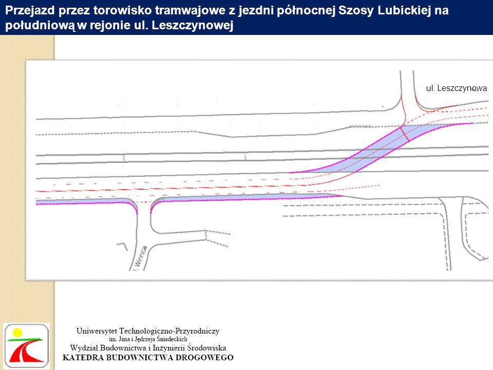 Przejazd przez torowisko tramwajowe z jezdni północnej Szosy Lubickiej na południową w rejonie ul. Leszczynowej ul. Leszczynowa