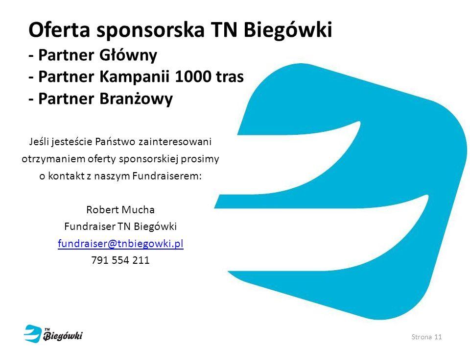 Oferta sponsorska TN Biegówki - Partner Główny - Partner Kampanii 1000 tras - Partner Branżowy Jeśli jesteście Państwo zainteresowani otrzymaniem ofer