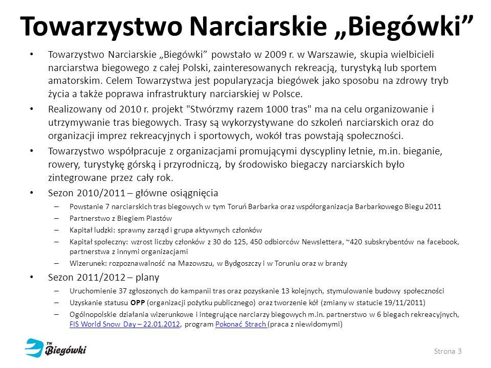 Towarzystwo Narciarskie Biegówki Towarzystwo Narciarskie Biegówki powstało w 2009 r. w Warszawie, skupia wielbicieli narciarstwa biegowego z całej Pol