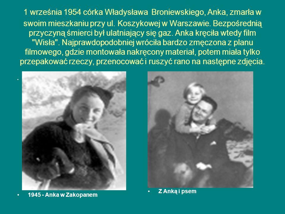 1 września 1954 córka Władysława Broniewskiego, Anka, zmarła w swoim mieszkaniu przy ul. Koszykowej w Warszawie. Bezpośrednią przyczyną śmierci był ul