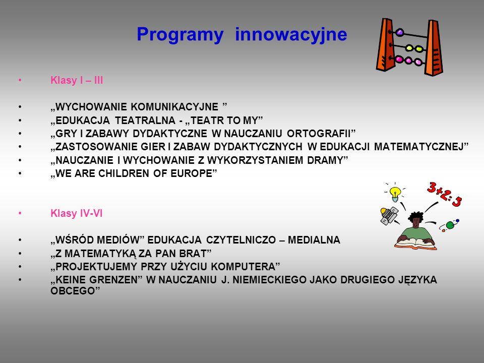 Programy innowacyjne Klasy I – III WYCHOWANIE KOMUNIKACYJNE EDUKACJA TEATRALNA - TEATR TO MY GRY I ZABAWY DYDAKTYCZNE W NAUCZANIU ORTOGRAFII ZASTOSOWA