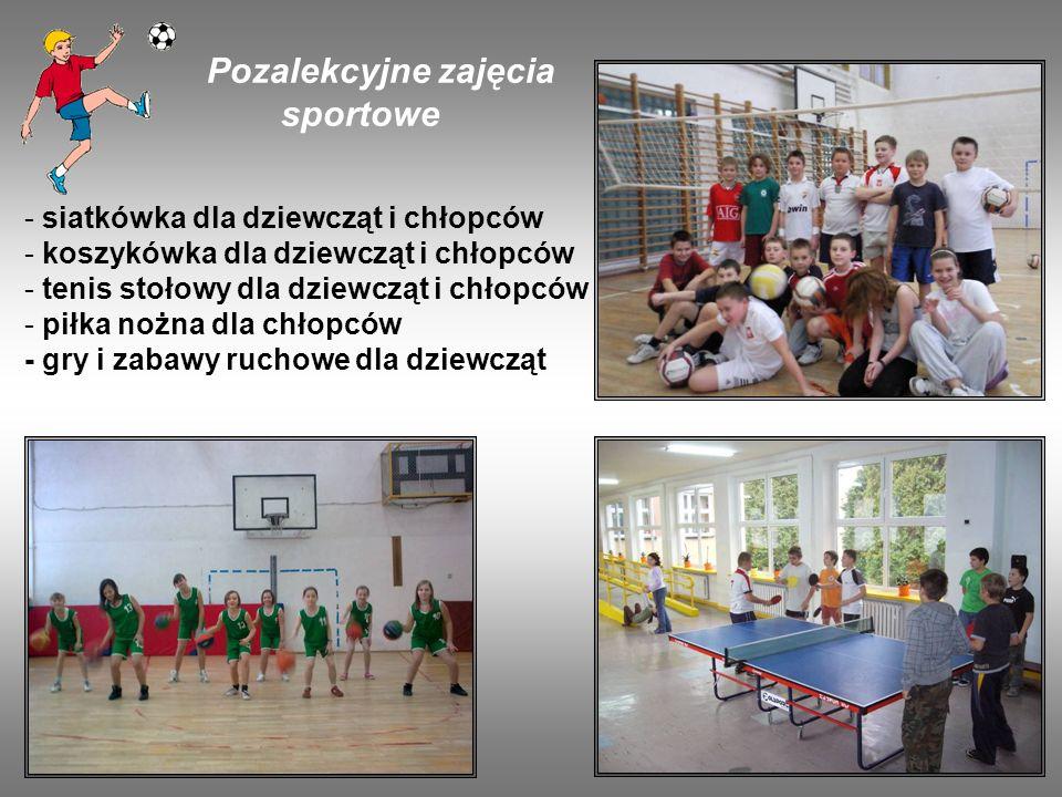 Pozalekcyjne zajęcia sportowe - siatkówka dla dziewcząt i chłopców - koszykówka dla dziewcząt i chłopców - tenis stołowy dla dziewcząt i chłopców - pi