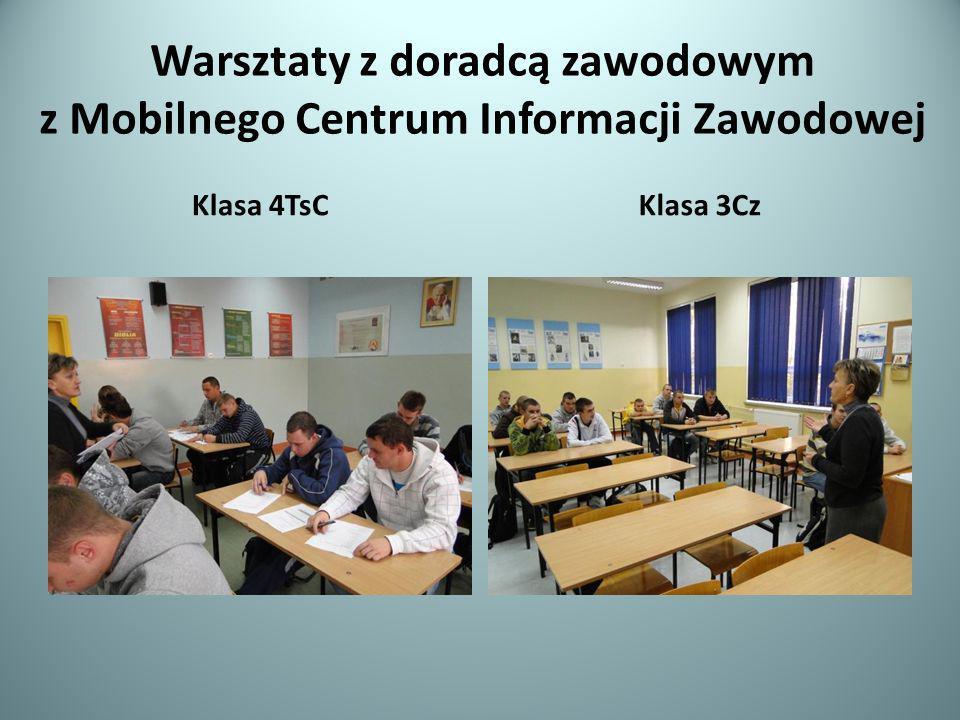 Warsztaty z doradcą zawodowym z Mobilnego Centrum Informacji Zawodowej Klasa 4TsCKlasa 3Cz
