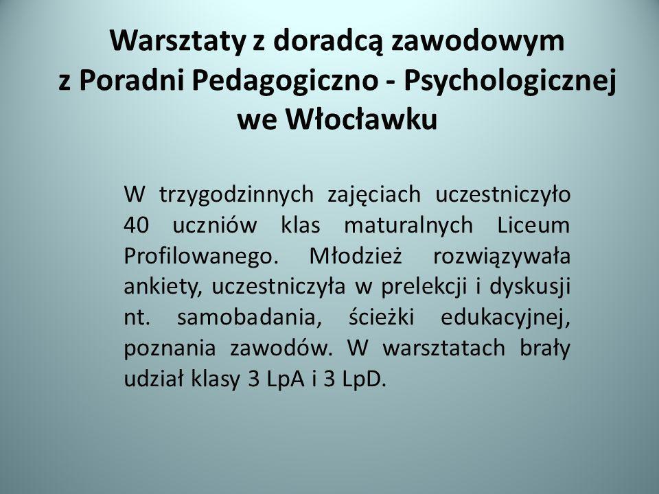 Warsztaty z doradcą zawodowym z Poradni Pedagogiczno - Psychologicznej we Włocławku W trzygodzinnych zajęciach uczestniczyło 40 uczniów klas maturalny