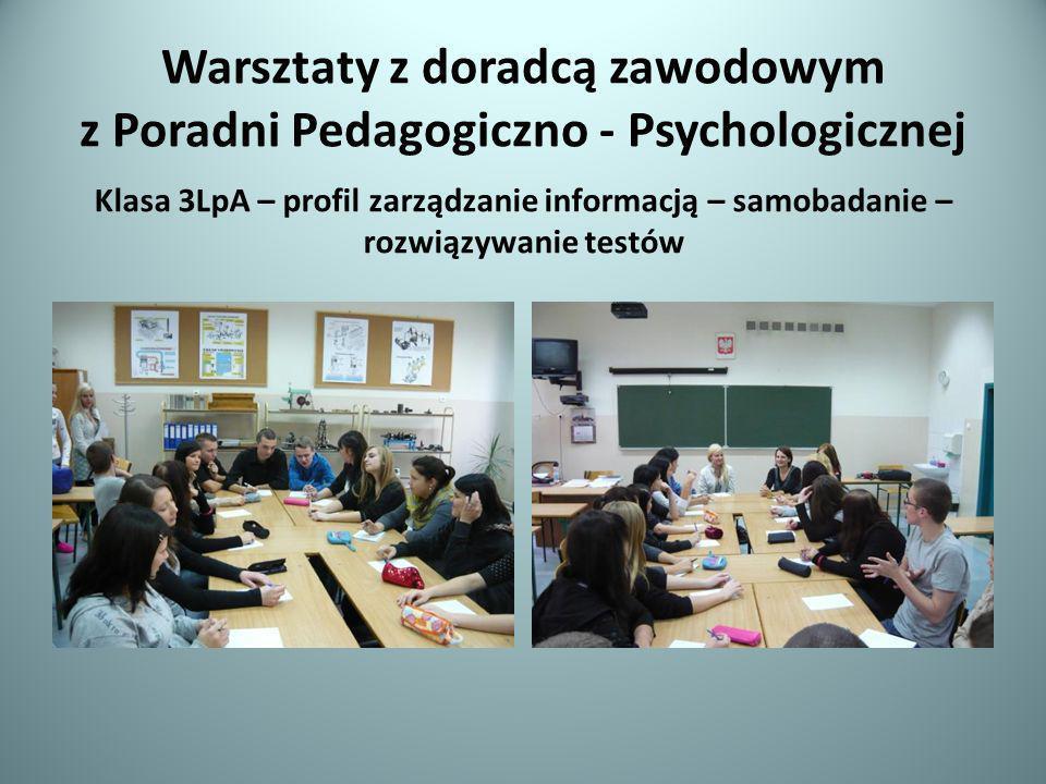 Warsztaty z doradcą zawodowym z Poradni Pedagogiczno - Psychologicznej Klasa 3LpA – profil zarządzanie informacją – samobadanie – rozwiązywanie testów