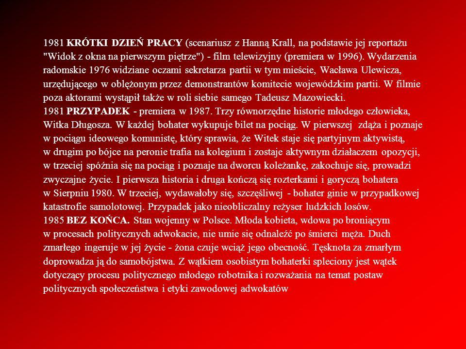 1981 KRÓTKI DZIEŃ PRACY (scenariusz z Hanną Krall, na podstawie jej reportażu