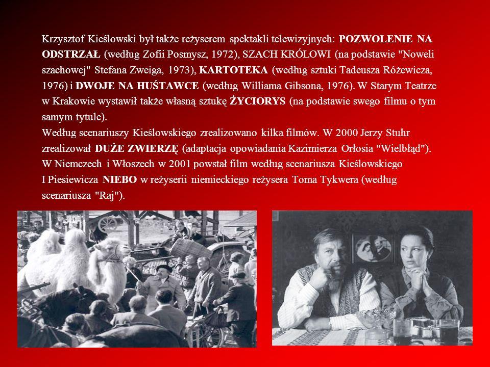 Krzysztof Kieślowski był także reżyserem spektakli telewizyjnych: POZWOLENIE NA ODSTRZAŁ (według Zofii Posmysz, 1972), SZACH KRÓLOWI (na podstawie