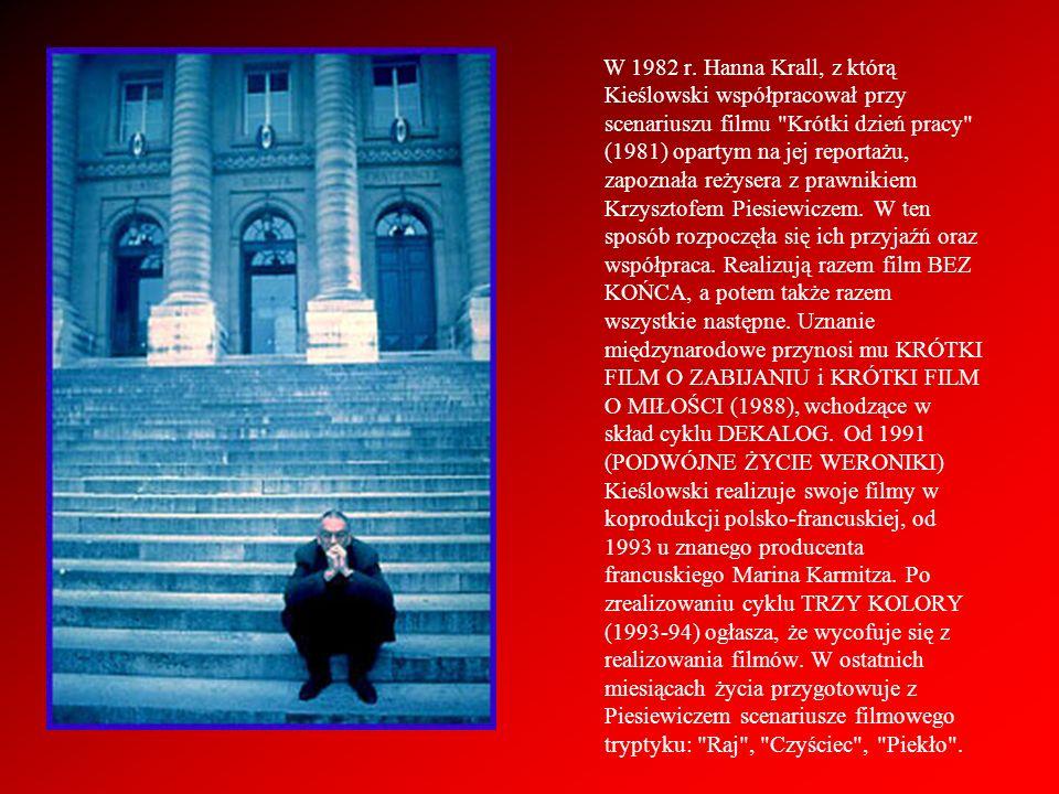 1988 KRÓTKI FILM O MIŁOŚCI (scenariusz z Krzysztofem Piesiewiczem) – kinowa wersja części VI telewizyjnego cyklu DEKALOG.
