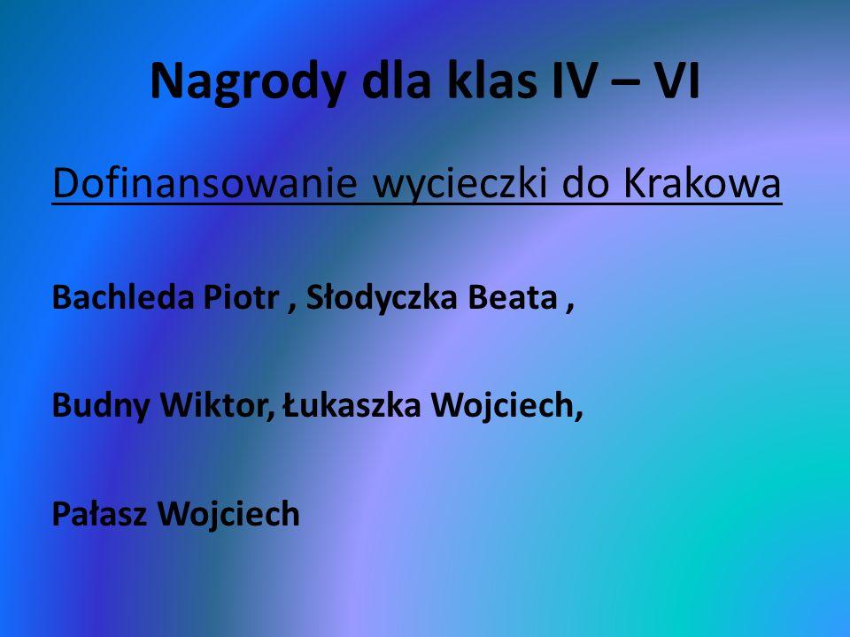 Nagrody dla klas IV – VI Dofinansowanie wycieczki do Krakowa Bachleda Piotr, Słodyczka Beata, Budny Wiktor, Łukaszka Wojciech, Pałasz Wojciech