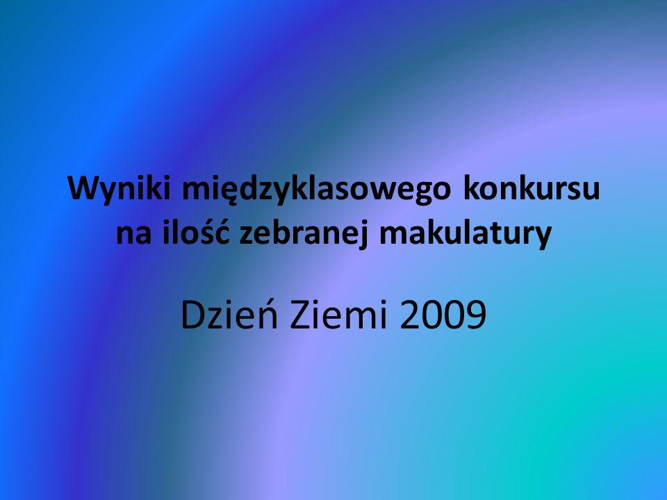 Wyniki międzyklasowego konkursu na ilość zebranej makulatury Dzień Ziemi 2009