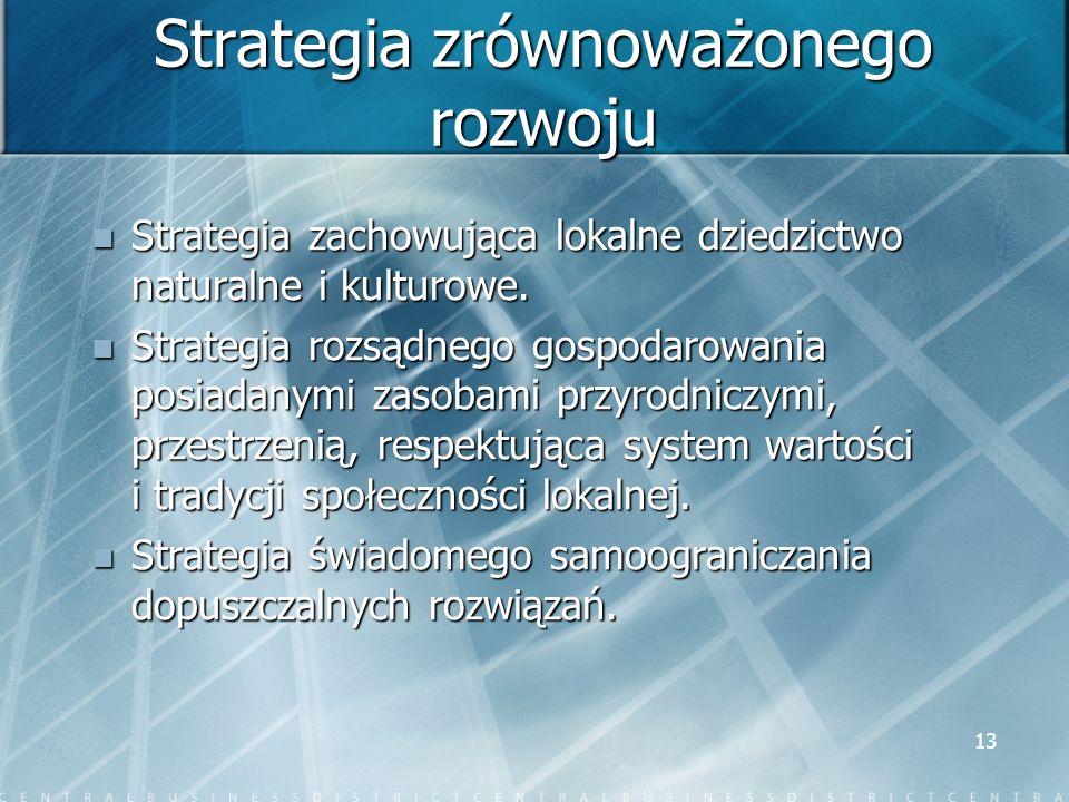 13 Strategia zrównoważonego rozwoju Strategia zachowująca lokalne dziedzictwo naturalne i kulturowe. Strategia zachowująca lokalne dziedzictwo natural