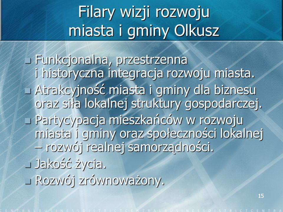 15 Filary wizji rozwoju miasta i gminy Olkusz Funkcjonalna, przestrzenna i historyczna integracja rozwoju miasta. Funkcjonalna, przestrzenna i history