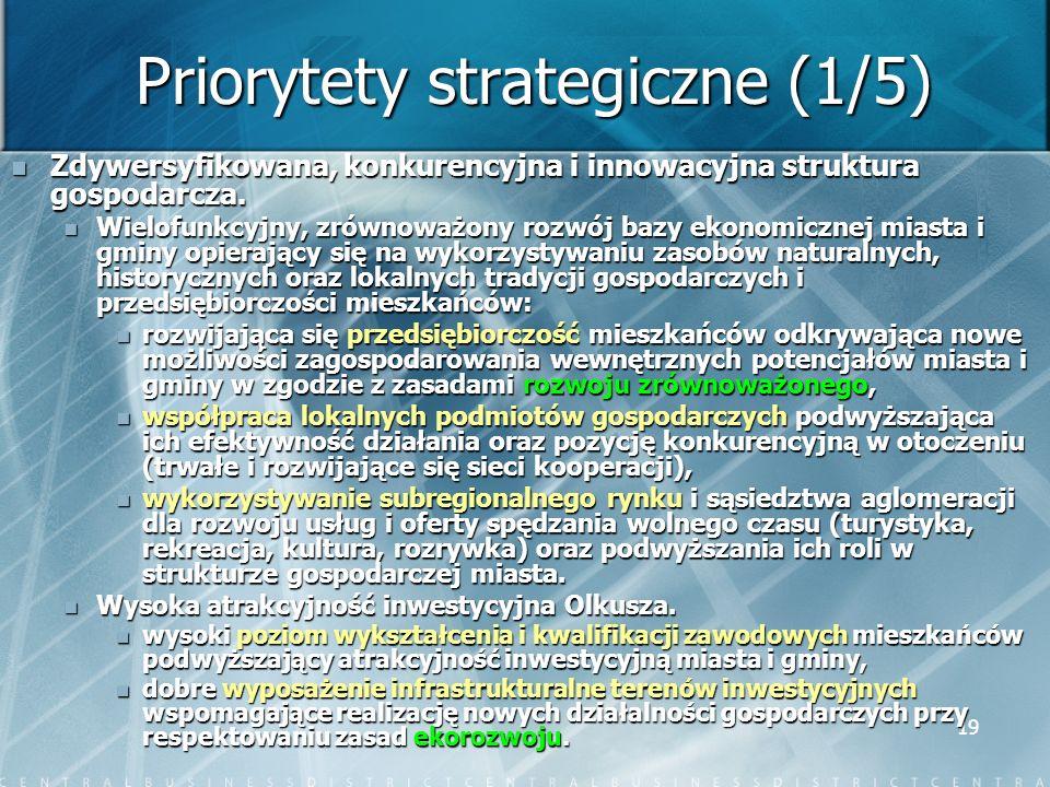 19 Priorytety strategiczne (1/5) Zdywersyfikowana, konkurencyjna i innowacyjna struktura gospodarcza. Zdywersyfikowana, konkurencyjna i innowacyjna st