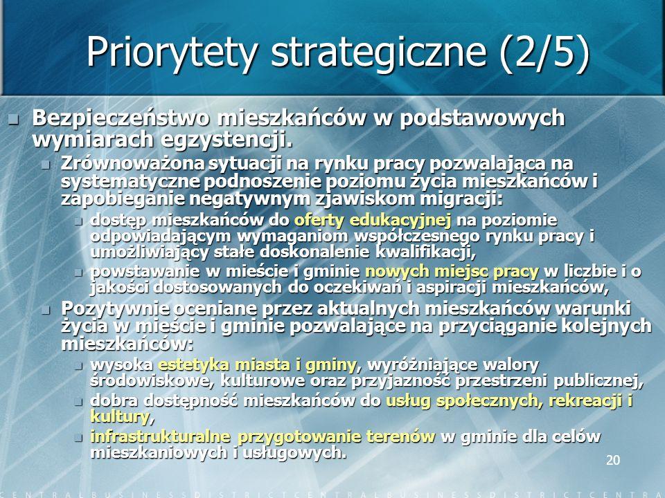 20 Priorytety strategiczne (2/5) Bezpieczeństwo mieszkańców w podstawowych wymiarach egzystencji. Bezpieczeństwo mieszkańców w podstawowych wymiarach