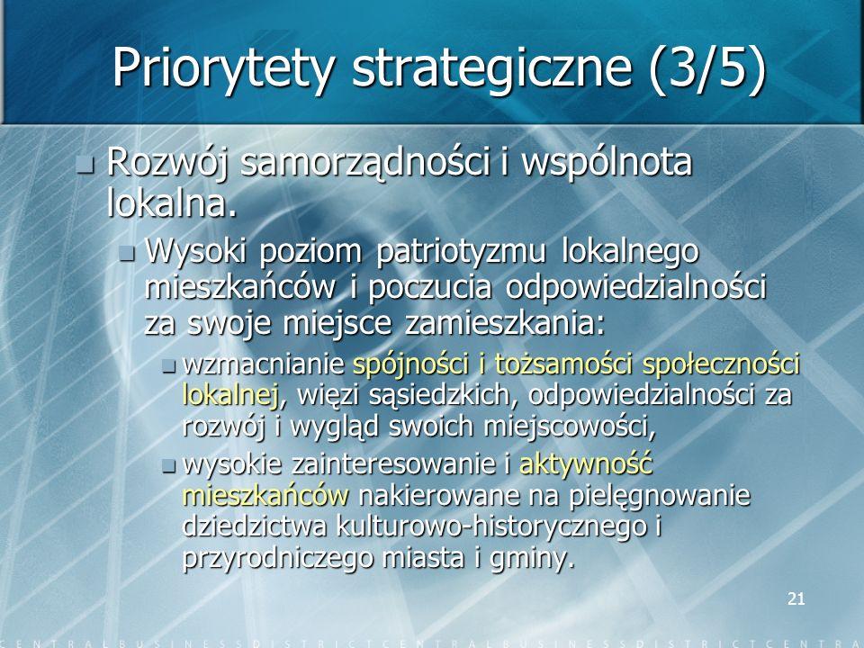 21 Priorytety strategiczne (3/5) Rozwój samorządności i wspólnota lokalna. Rozwój samorządności i wspólnota lokalna. Wysoki poziom patriotyzmu lokalne