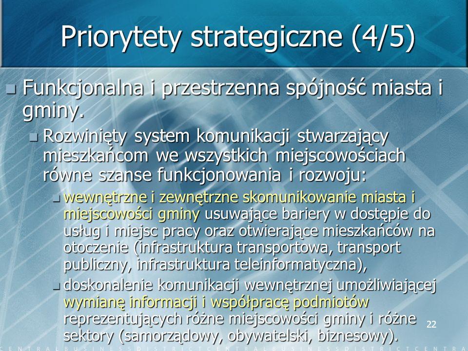 22 Priorytety strategiczne (4/5) Funkcjonalna i przestrzenna spójność miasta i gminy. Funkcjonalna i przestrzenna spójność miasta i gminy. Rozwinięty