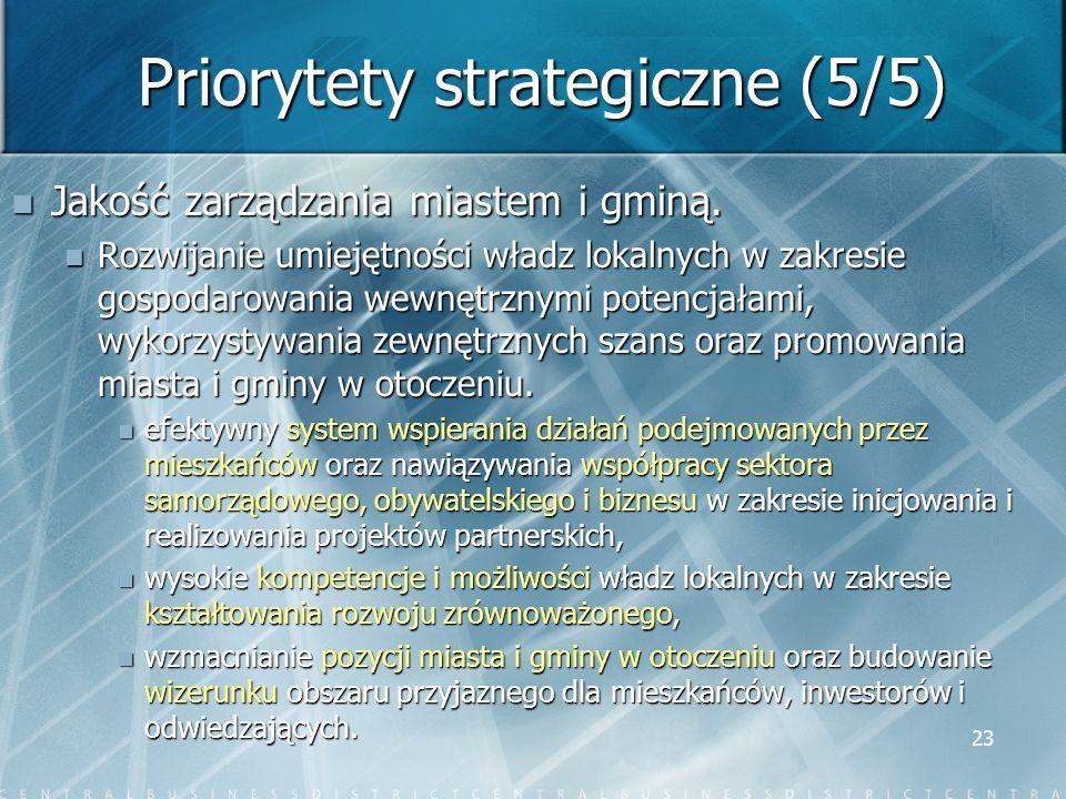 23 Priorytety strategiczne (5/5) Jakość zarządzania miastem i gminą. Jakość zarządzania miastem i gminą. Rozwijanie umiejętności władz lokalnych w zak