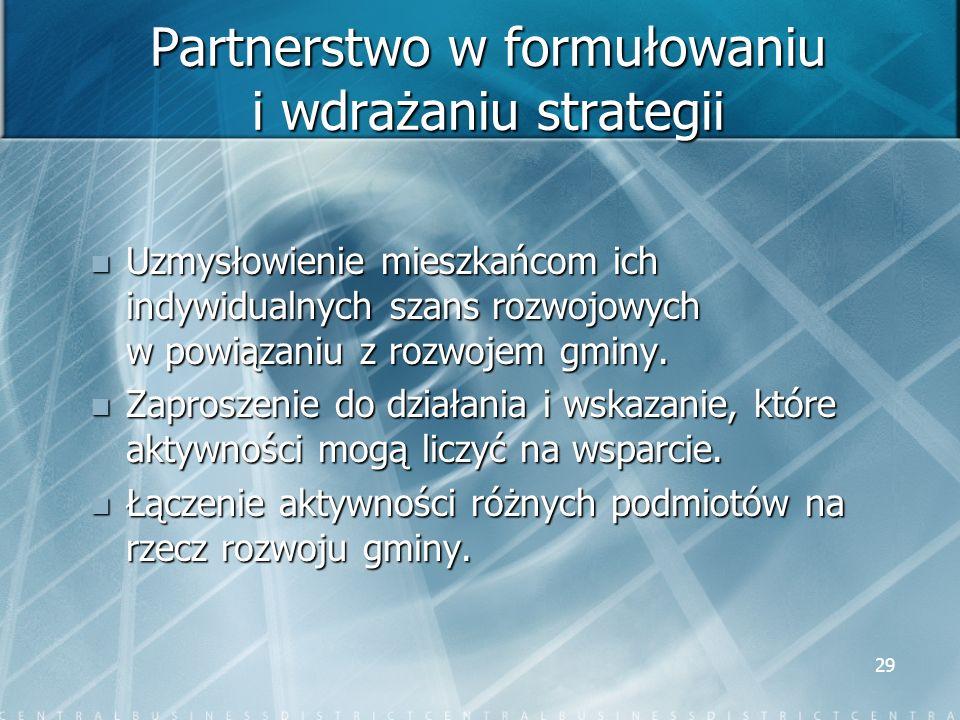 29 Partnerstwo w formułowaniu i wdrażaniu strategii Uzmysłowienie mieszkańcom ich indywidualnych szans rozwojowych w powiązaniu z rozwojem gminy. Uzmy