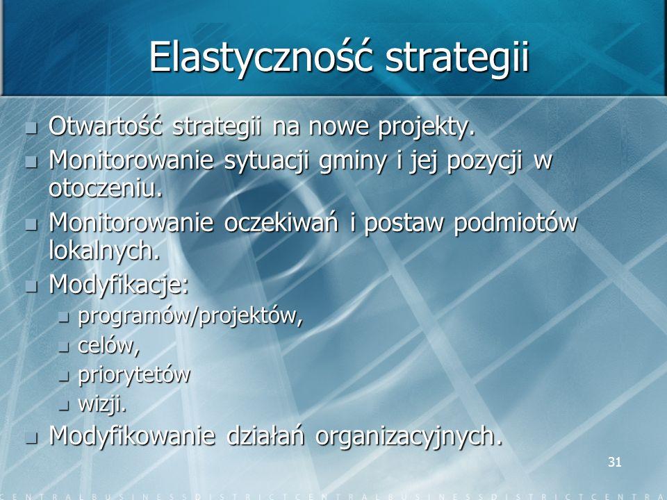 31 Elastyczność strategii Otwartość strategii na nowe projekty. Otwartość strategii na nowe projekty. Monitorowanie sytuacji gminy i jej pozycji w oto
