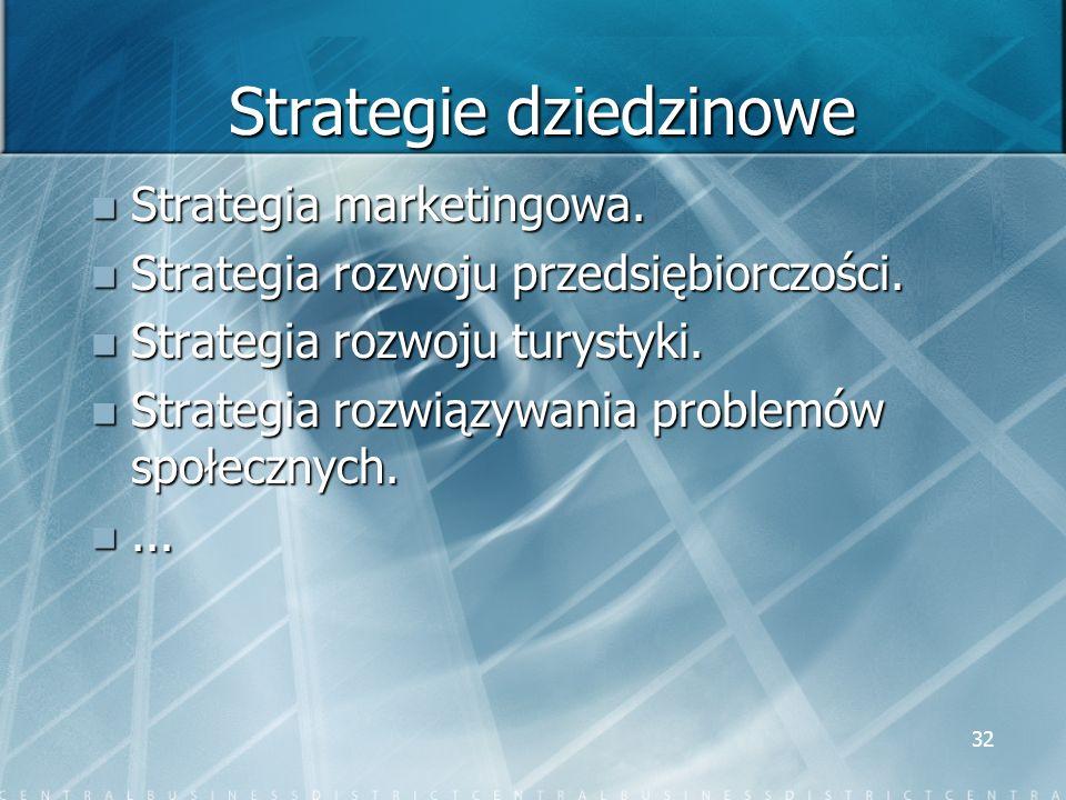 32 Strategie dziedzinowe Strategia marketingowa. Strategia marketingowa. Strategia rozwoju przedsiębiorczości. Strategia rozwoju przedsiębiorczości. S