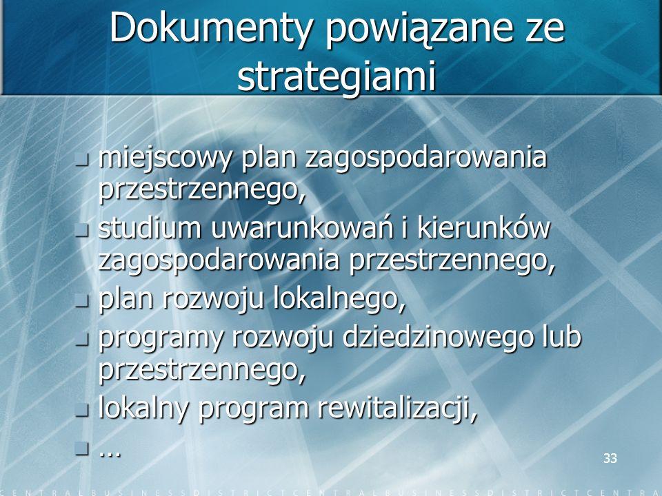 33 Dokumenty powiązane ze strategiami miejscowy plan zagospodarowania przestrzennego, miejscowy plan zagospodarowania przestrzennego, studium uwarunko