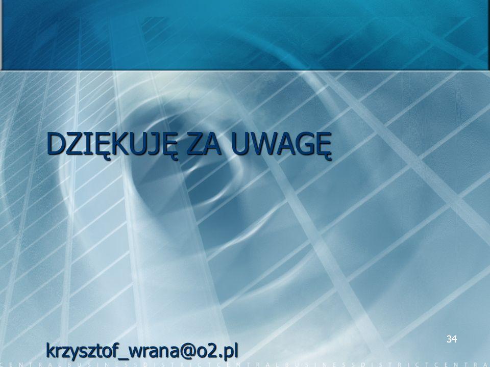 34 DZIĘKUJĘ ZA UWAGĘ krzysztof_wrana@o2.pl
