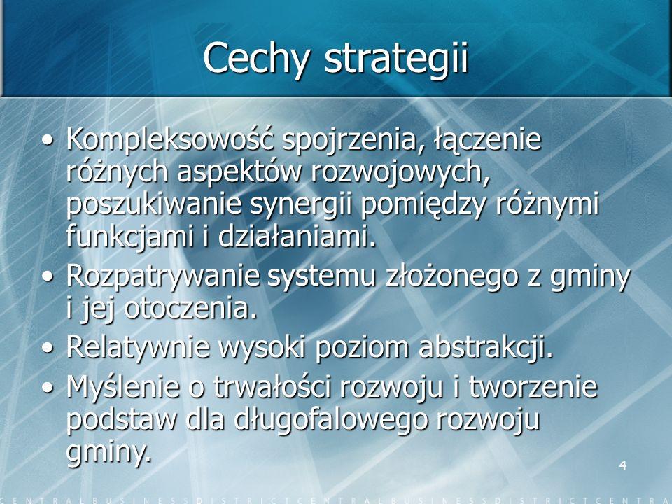 4 Cechy strategii Kompleksowość spojrzenia, łączenie różnych aspektów rozwojowych, poszukiwanie synergii pomiędzy różnymi funkcjami i działaniami.Komp