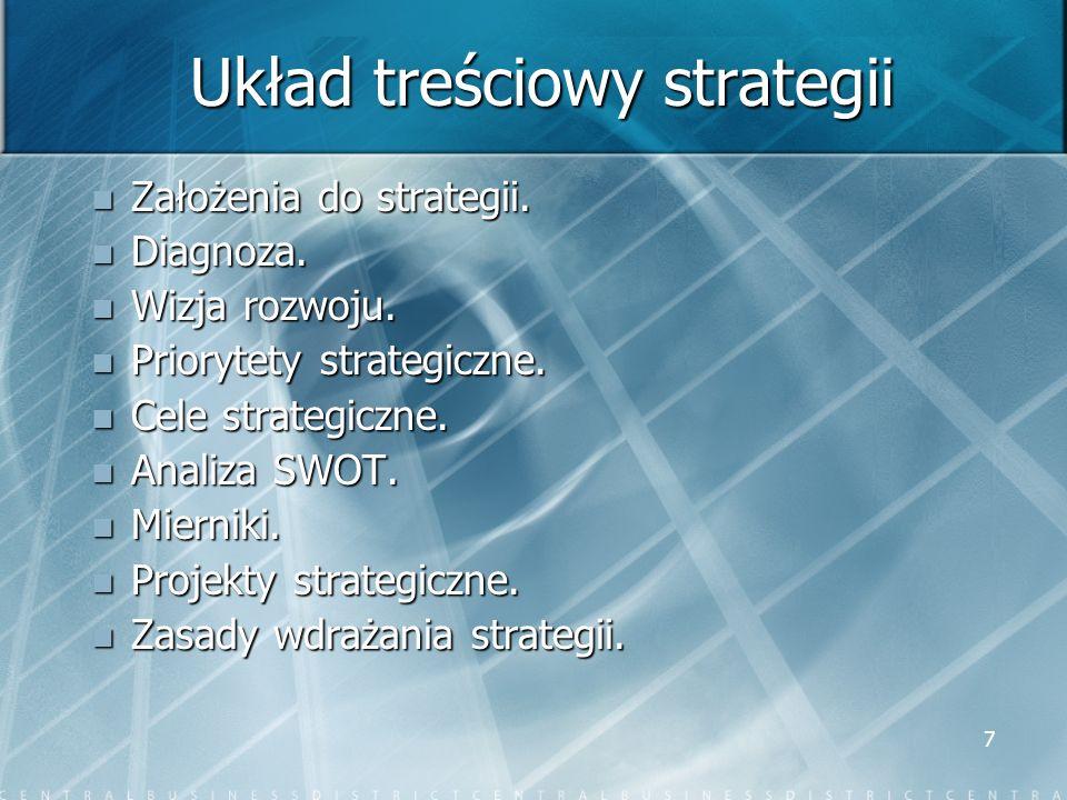 7 Układ treściowy strategii Założenia do strategii. Założenia do strategii. Diagnoza. Diagnoza. Wizja rozwoju. Wizja rozwoju. Priorytety strategiczne.