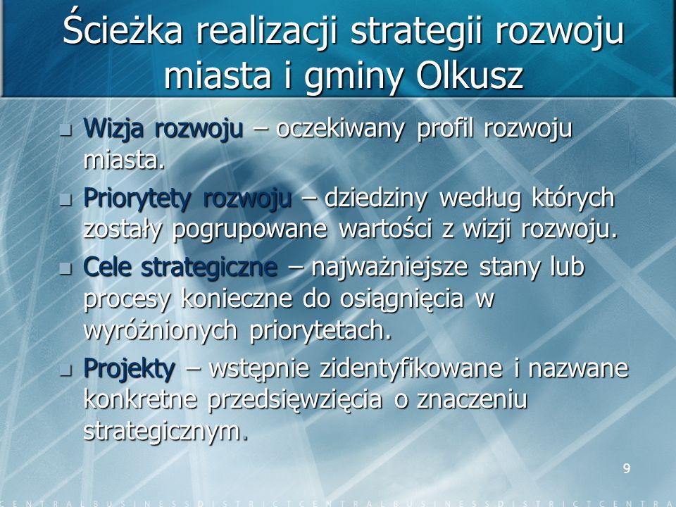 9 Ścieżka realizacji strategii rozwoju miasta i gminy Olkusz Wizja rozwoju – oczekiwany profil rozwoju miasta. Wizja rozwoju – oczekiwany profil rozwo