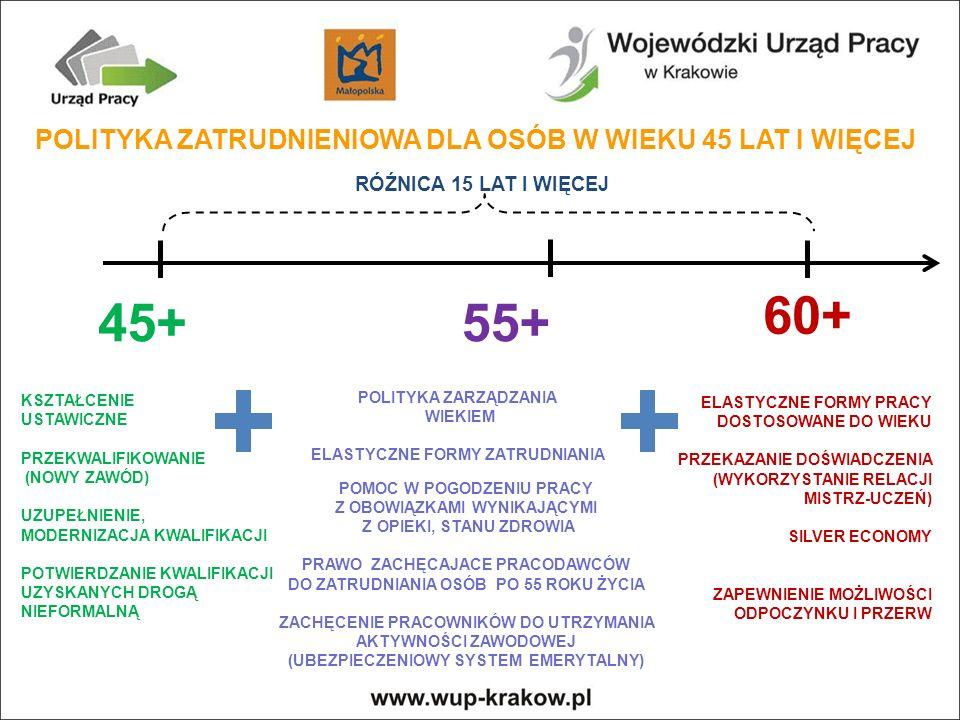 POLITYKA ZATRUDNIENIOWA DLA OSÓB W WIEKU 45 LAT I WIĘCEJ 45+55+ 60+ RÓŹNICA 15 LAT I WIĘCEJ KSZTAŁCENIE USTAWICZNE PRZEKWALIFIKOWANIE (NOWY ZAWÓD) UZUPEŁNIENIE, MODERNIZACJA KWALIFIKACJI POTWIERDZANIE KWALIFIKACJI UZYSKANYCH DROGĄ NIEFORMALNĄ POLITYKA ZARZĄDZANIA WIEKIEM ELASTYCZNE FORMY ZATRUDNIANIA POMOC W POGODZENIU PRACY Z OBOWIĄZKAMI WYNIKAJĄCYMI Z OPIEKI, STANU ZDROWIA PRAWO ZACHĘCAJACE PRACODAWCÓW DO ZATRUDNIANIA OSÓB PO 55 ROKU ŻYCIA ZACHĘCENIE PRACOWNIKÓW DO UTRZYMANIA AKTYWNOŚCI ZAWODOWEJ (UBEZPIECZENIOWY SYSTEM EMERYTALNY) ELASTYCZNE FORMY PRACY DOSTOSOWANE DO WIEKU PRZEKAZANIE DOŚWIADCZENIA (WYKORZYSTANIE RELACJI MISTRZ-UCZEŃ) SILVER ECONOMY ZAPEWNIENIE MOŻLIWOŚCI ODPOCZYNKU I PRZERW