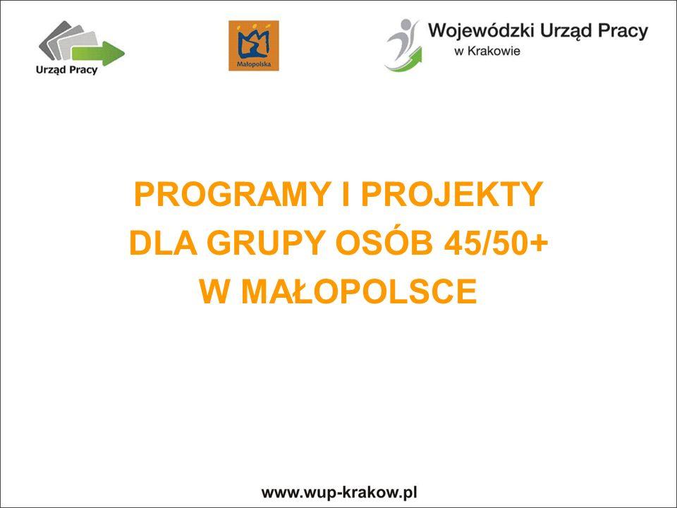 PROGRAMY I PROJEKTY DLA GRUPY OSÓB 45/50+ W MAŁOPOLSCE