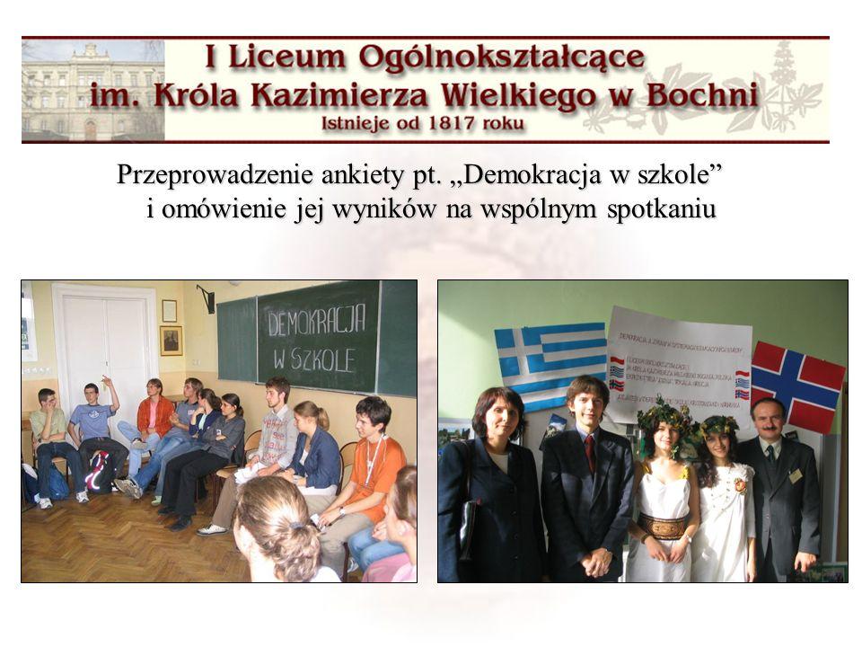 Przeprowadzenie ankiety pt. Demokracja w szkole i omówienie jej wyników na wspólnym spotkaniu