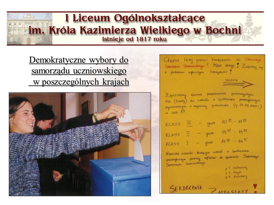 Demokratyczne wybory do samorządu uczniowskiego w poszczególnych krajach Demokratyczne wybory do samorządu uczniowskiego w poszczególnych krajach