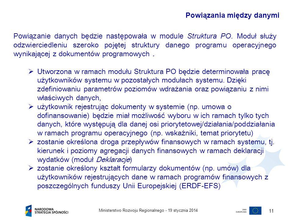 19 stycznia 2014Ministerstwo Rozwoju Regionalnego - 12 Dodatkowo, moduł ma umożliwiać bieżący, zależny od dostępu użytkownika do poziomów wdrażania, podgląd danych w układzie obrazującym utworzone w ramach struktury logiczne powiązania poszczególnych kategorii danych, dzięki czemu będzie pełnił rolę pomocniczą w zarządzaniu danym programem operacyjnym.