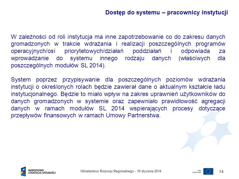 19 stycznia 2014Ministerstwo Rozwoju Regionalnego - 15 Pracownicy instytucji systemu wdrażania będą mieli dostęp do danych gromadzonych w systemie w zakresie zgodnym z rolą ich instytucji w systemie wdrażania i zakresem pełnionych przez nich obowiązków.