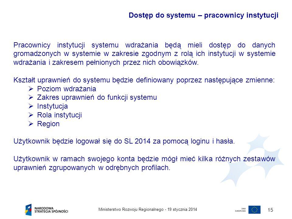 19 stycznia 2014Ministerstwo Rozwoju Regionalnego - 15 Pracownicy instytucji systemu wdrażania będą mieli dostęp do danych gromadzonych w systemie w z