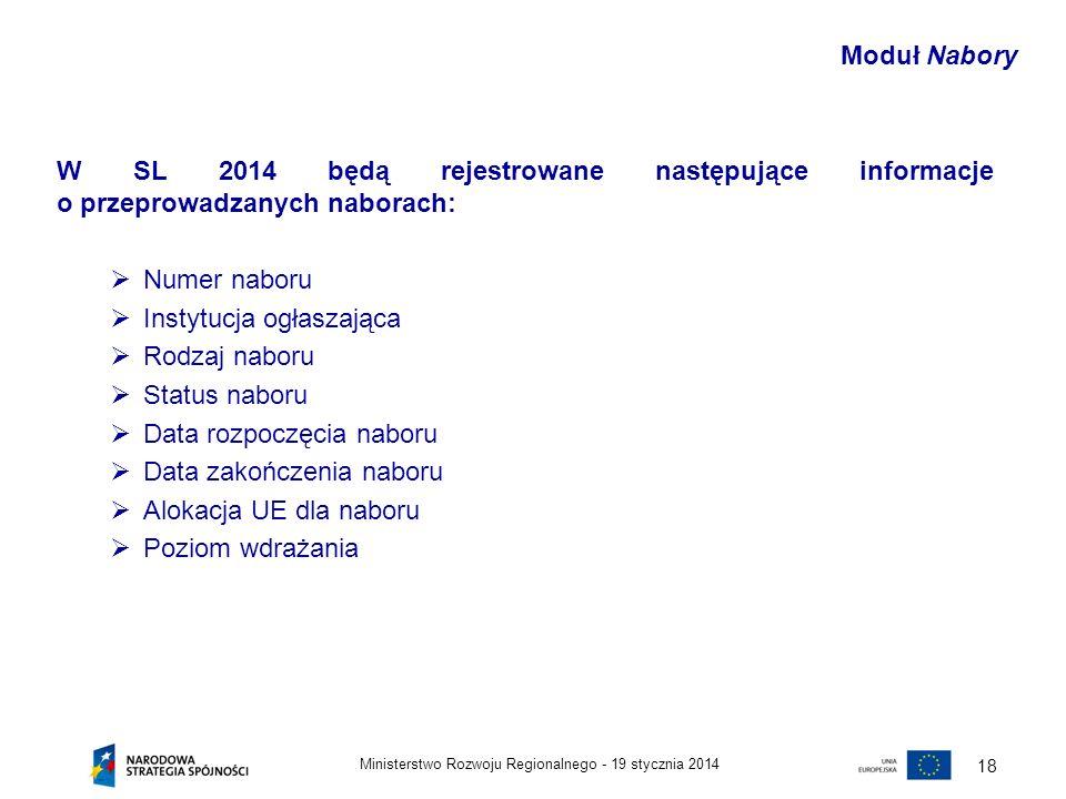 19 stycznia 2014Ministerstwo Rozwoju Regionalnego - 18 W SL 2014 będą rejestrowane następujące informacje o przeprowadzanych naborach: Numer naboru In