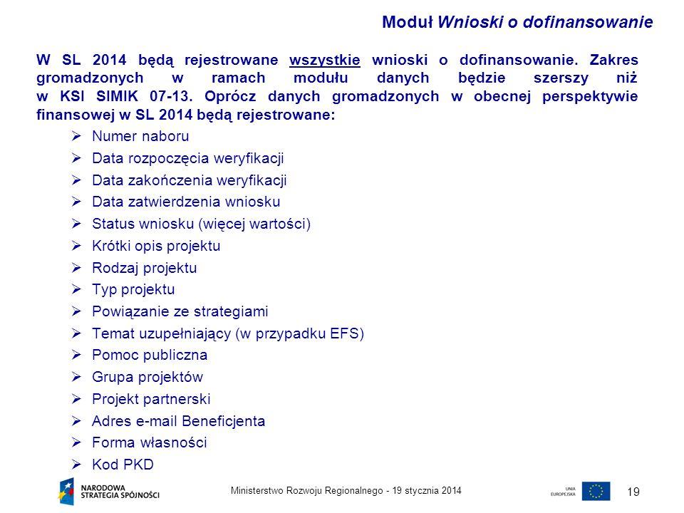 19 stycznia 2014Ministerstwo Rozwoju Regionalnego - 20 Zakres gromadzonych w ramach modułu danych będzie szerszy niż w KSI SIMIK 07-13.