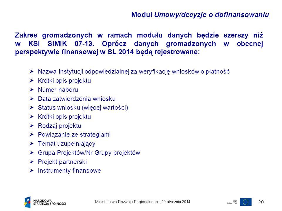 19 stycznia 2014Ministerstwo Rozwoju Regionalnego - 20 Zakres gromadzonych w ramach modułu danych będzie szerszy niż w KSI SIMIK 07-13. Oprócz danych