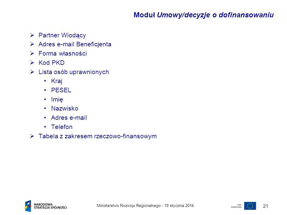 19 stycznia 2014Ministerstwo Rozwoju Regionalnego - 21 Partner Wiodący Adres e-mail Beneficjenta Forma własności Kod PKD Lista osób uprawnionych Kraj