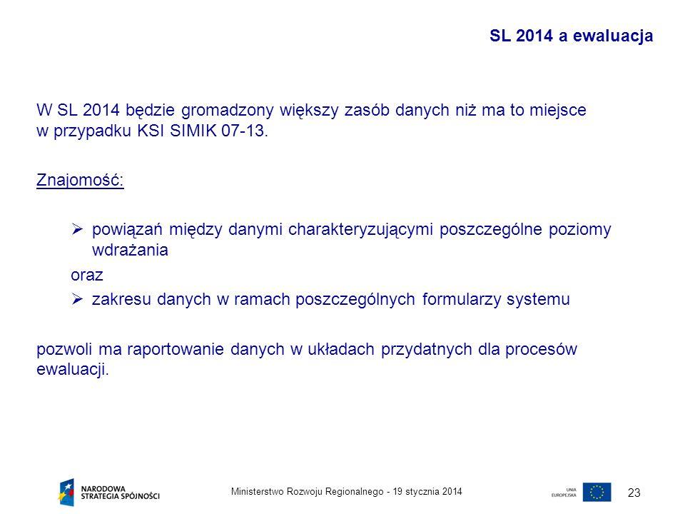 19 stycznia 2014Ministerstwo Rozwoju Regionalnego - 23 W SL 2014 będzie gromadzony większy zasób danych niż ma to miejsce w przypadku KSI SIMIK 07-13.