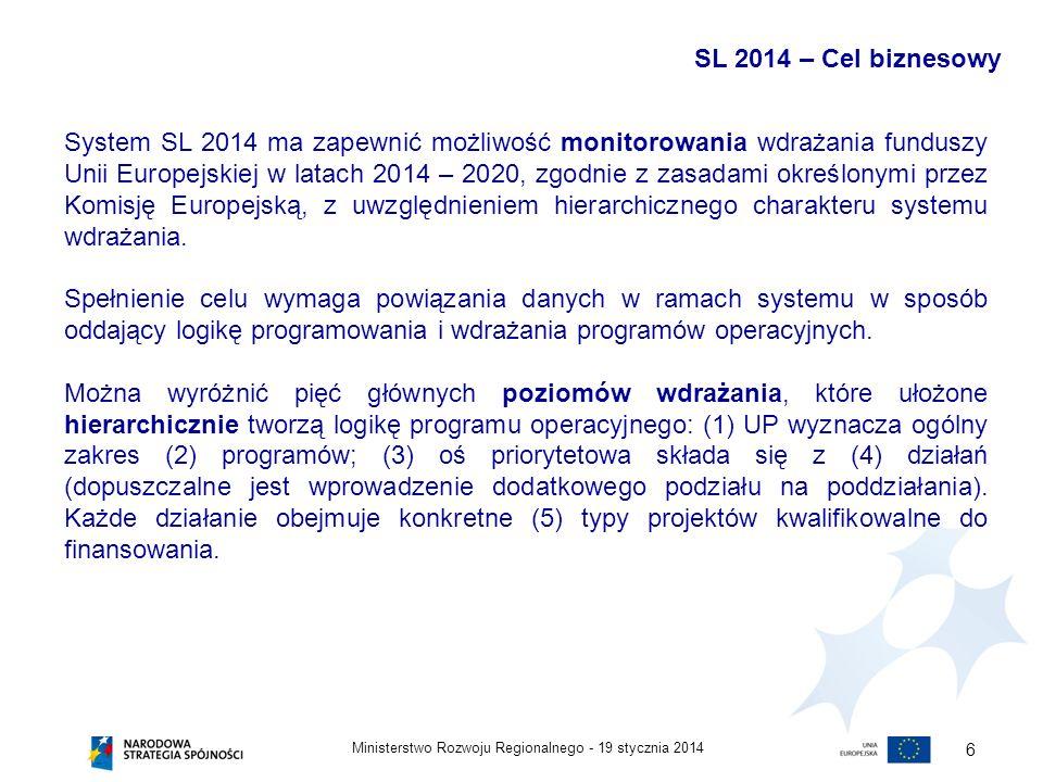 19 stycznia 2014Ministerstwo Rozwoju Regionalnego - 6 System SL 2014 ma zapewnić możliwość monitorowania wdrażania funduszy Unii Europejskiej w latach