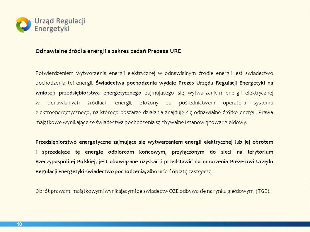 10 Odnawialne źródła energii a zakres zadań Prezesa URE Potwierdzeniem wytworzenia energii elektrycznej w odnawialnym źródle energii jest świadectwo p