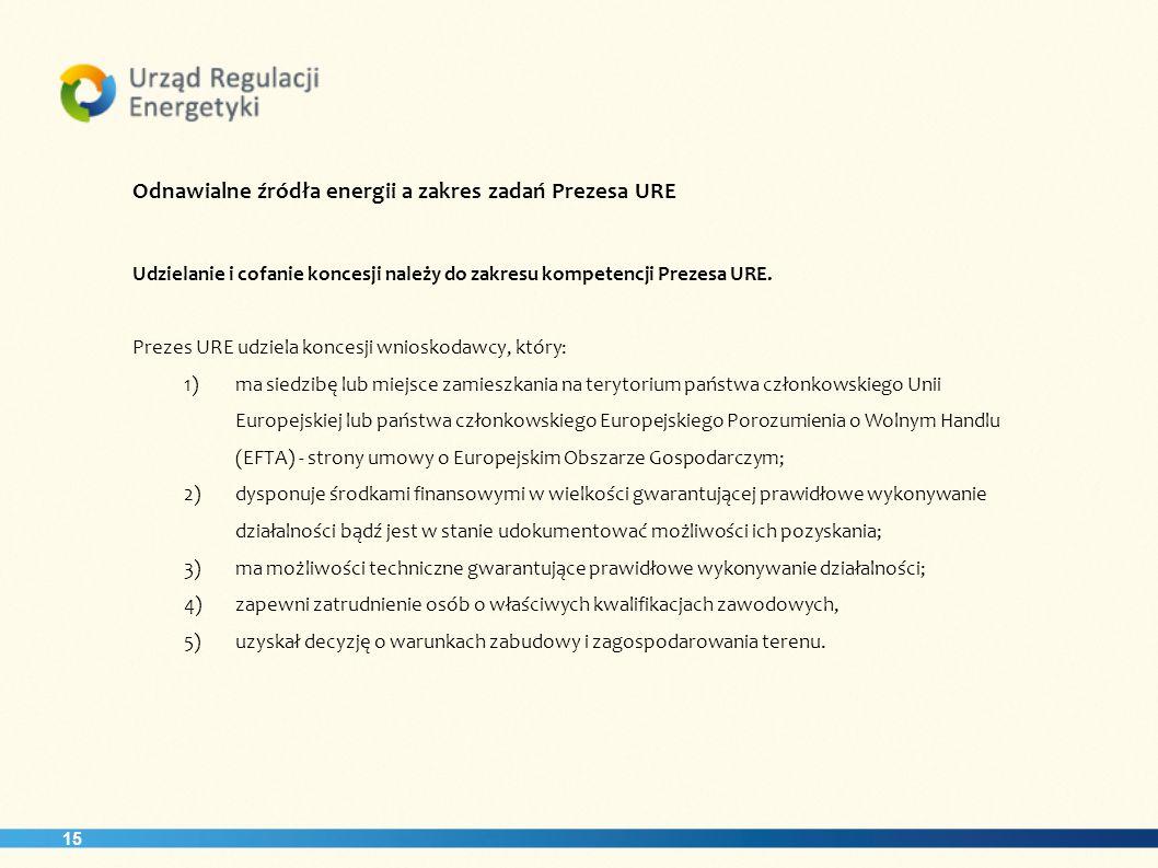 15 Odnawialne źródła energii a zakres zadań Prezesa URE Udzielanie i cofanie koncesji należy do zakresu kompetencji Prezesa URE. Prezes URE udziela ko