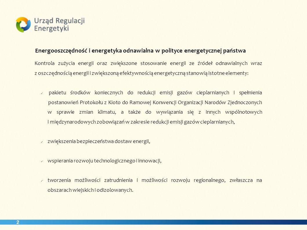 2 Energooszczędność i energetyka odnawialna w polityce energetycznej państwa Kontrola zużycia energii oraz zwiększone stosowanie energii ze źródeł odn